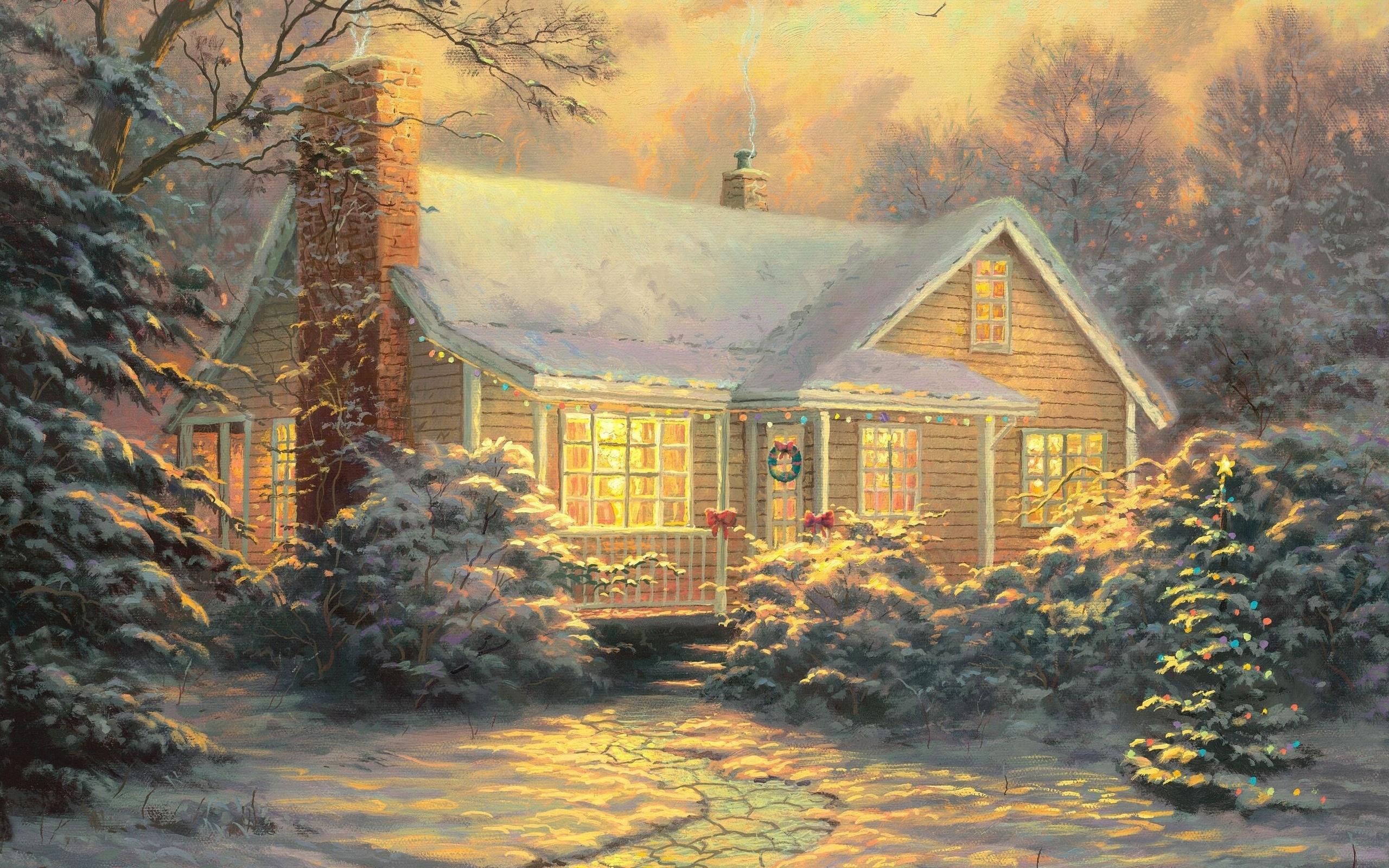 Новогодние домики томас кинкейд картинки