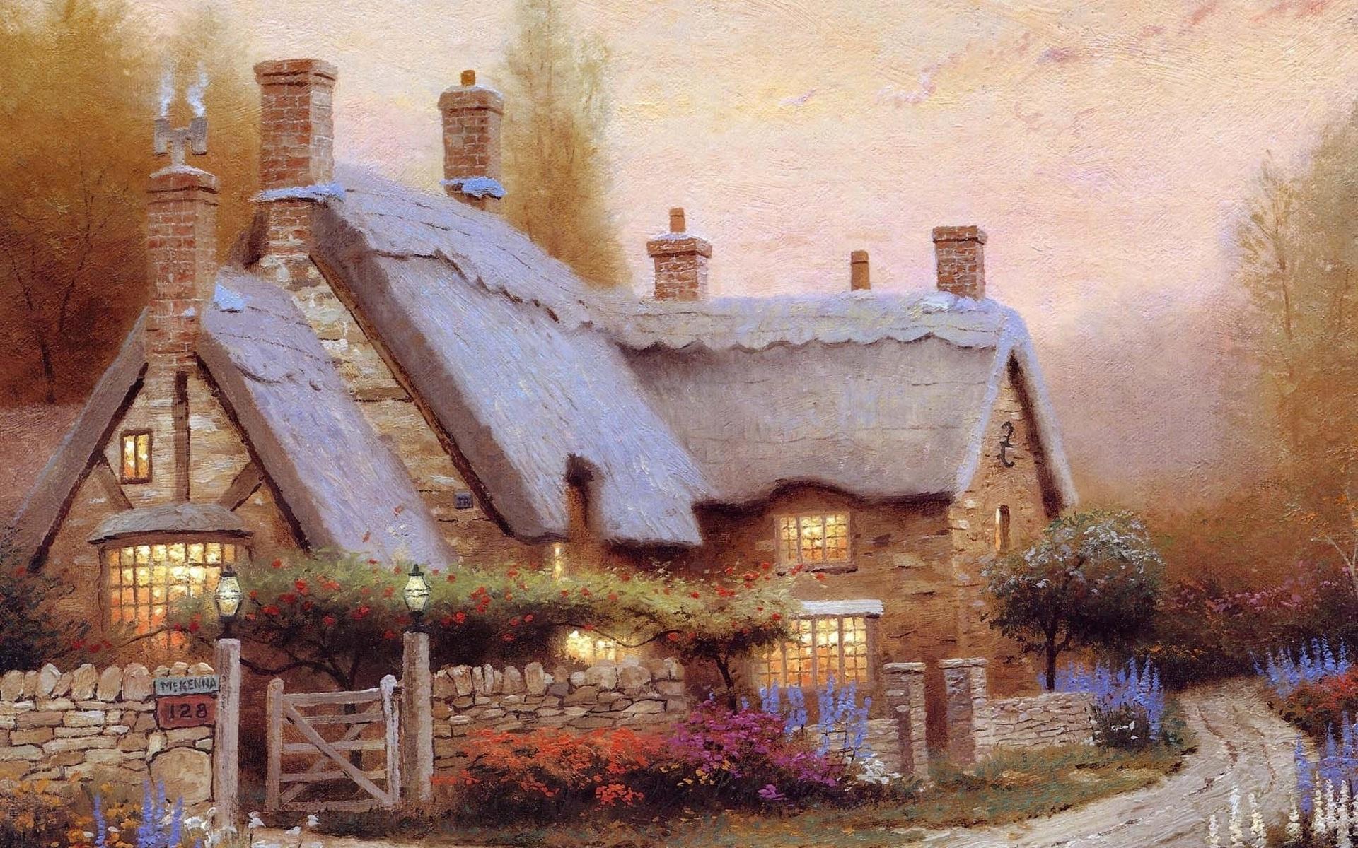 Пейзаж с домами картинки
