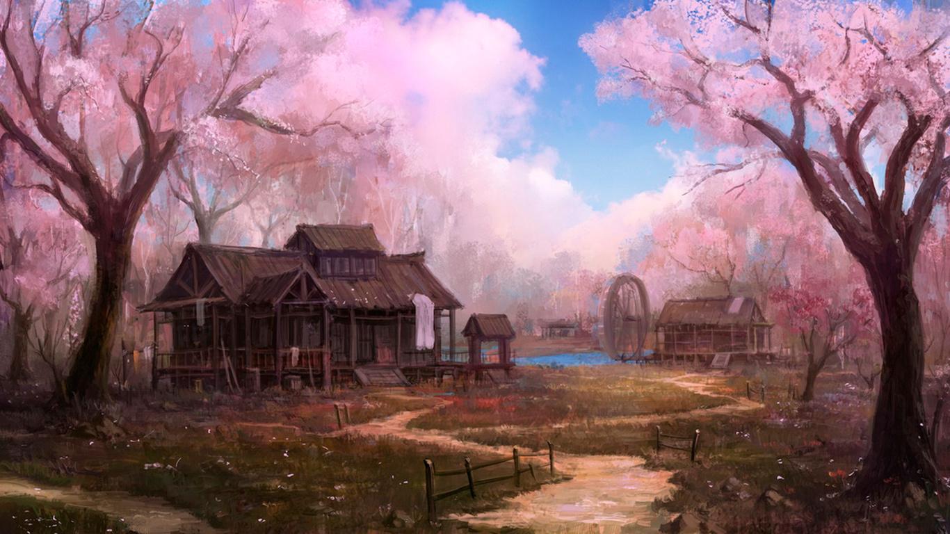 Картинки аниме деревня