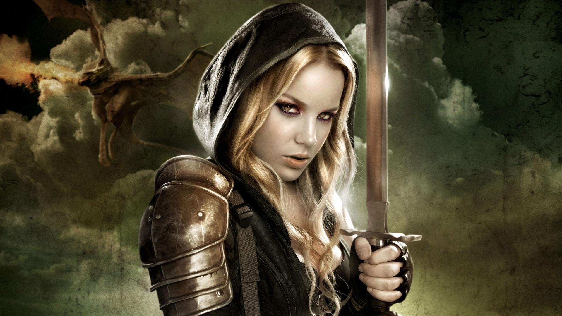 Картинка воинственная девушка