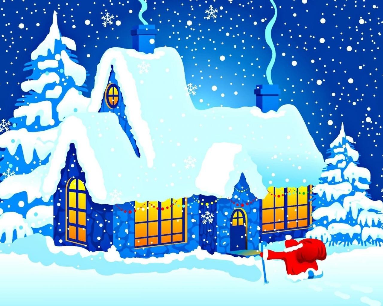 Домики в снегу открытки