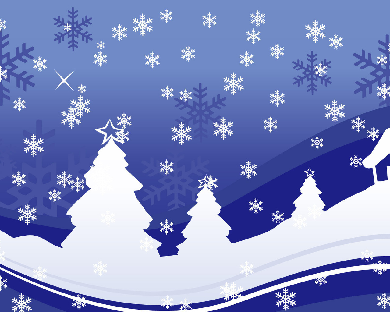открытки со снежинками и елками для