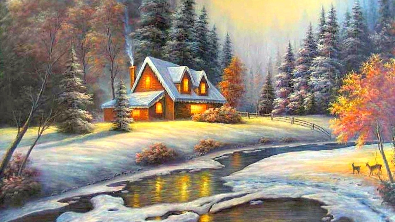 Зимний пейзаж с домиками картинки, стихами днем