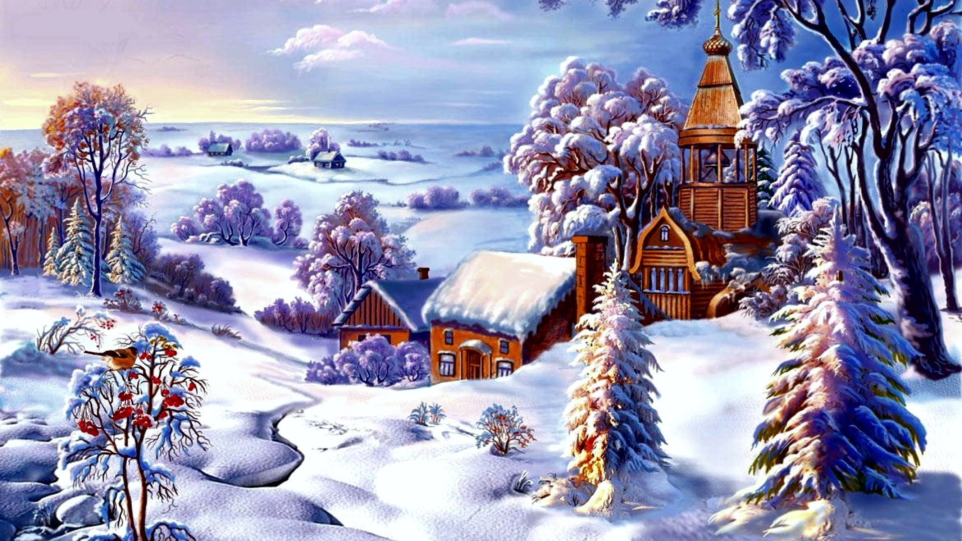 Открытки зима красивые пейзажи