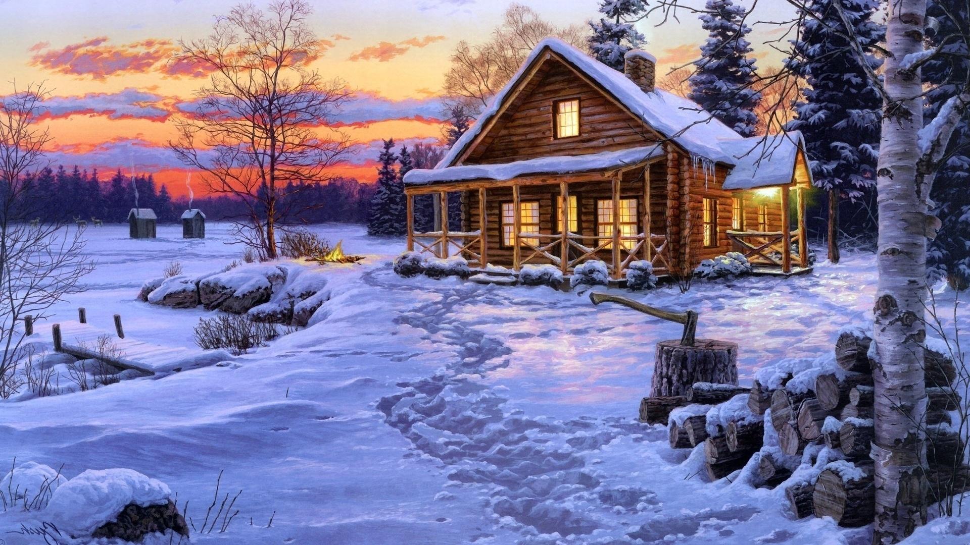 Приколы, картинки зимний пейзаж новогодние картинки
