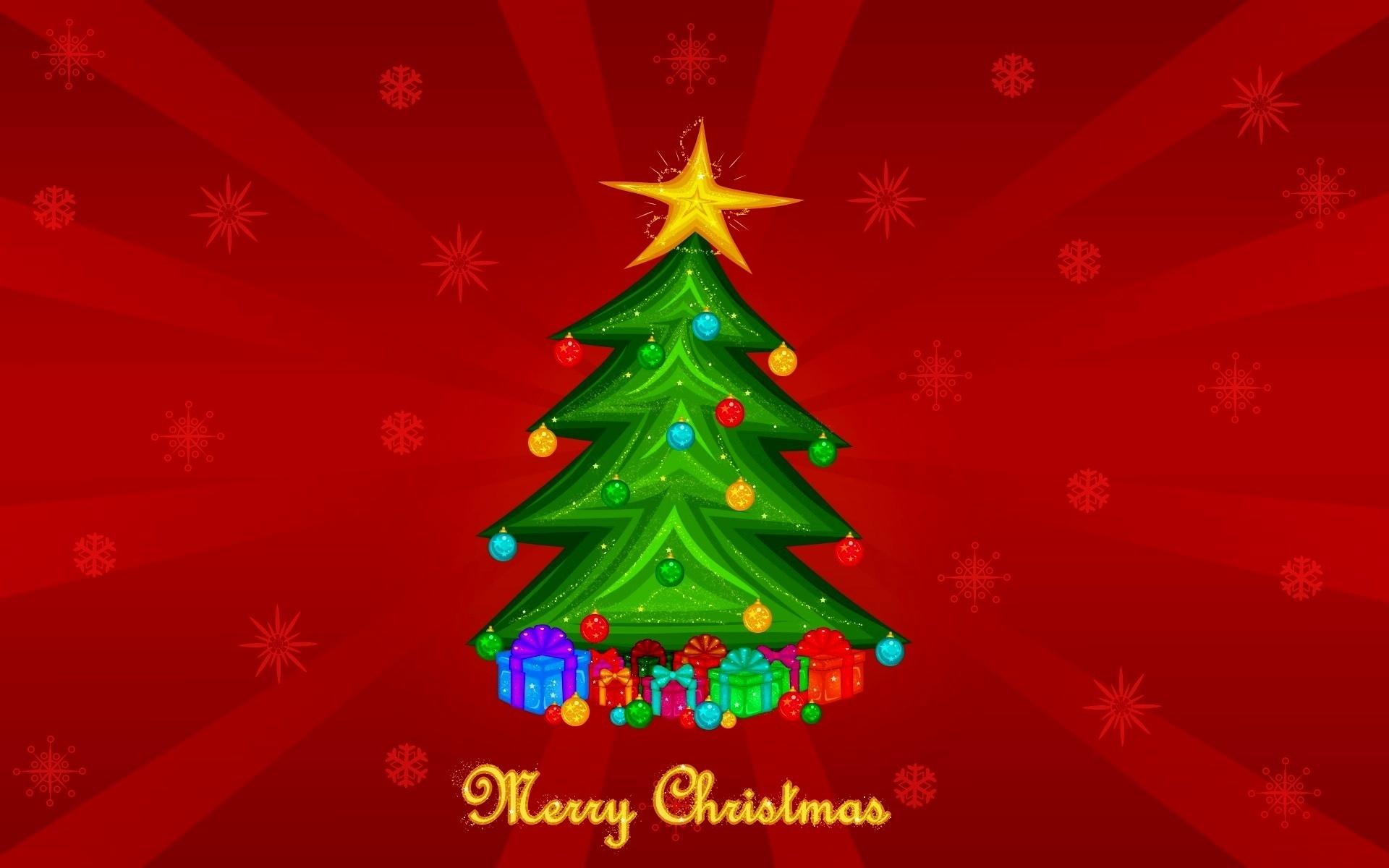 Открытка картинка новогодняя елка, анимация днем