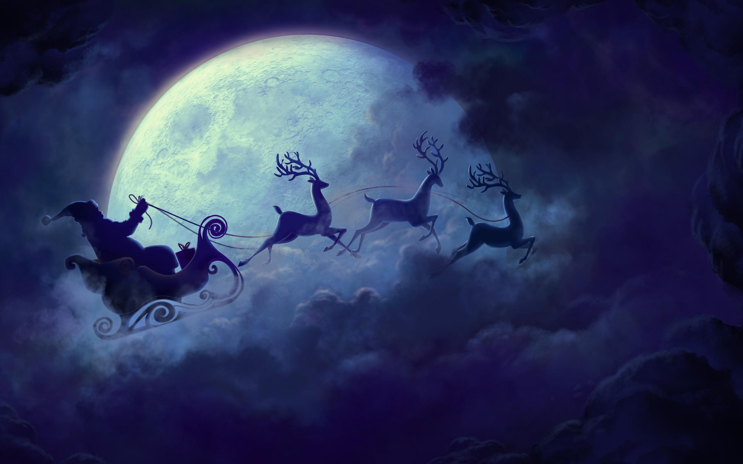Картинки деда мороза на санях с оленями в небе