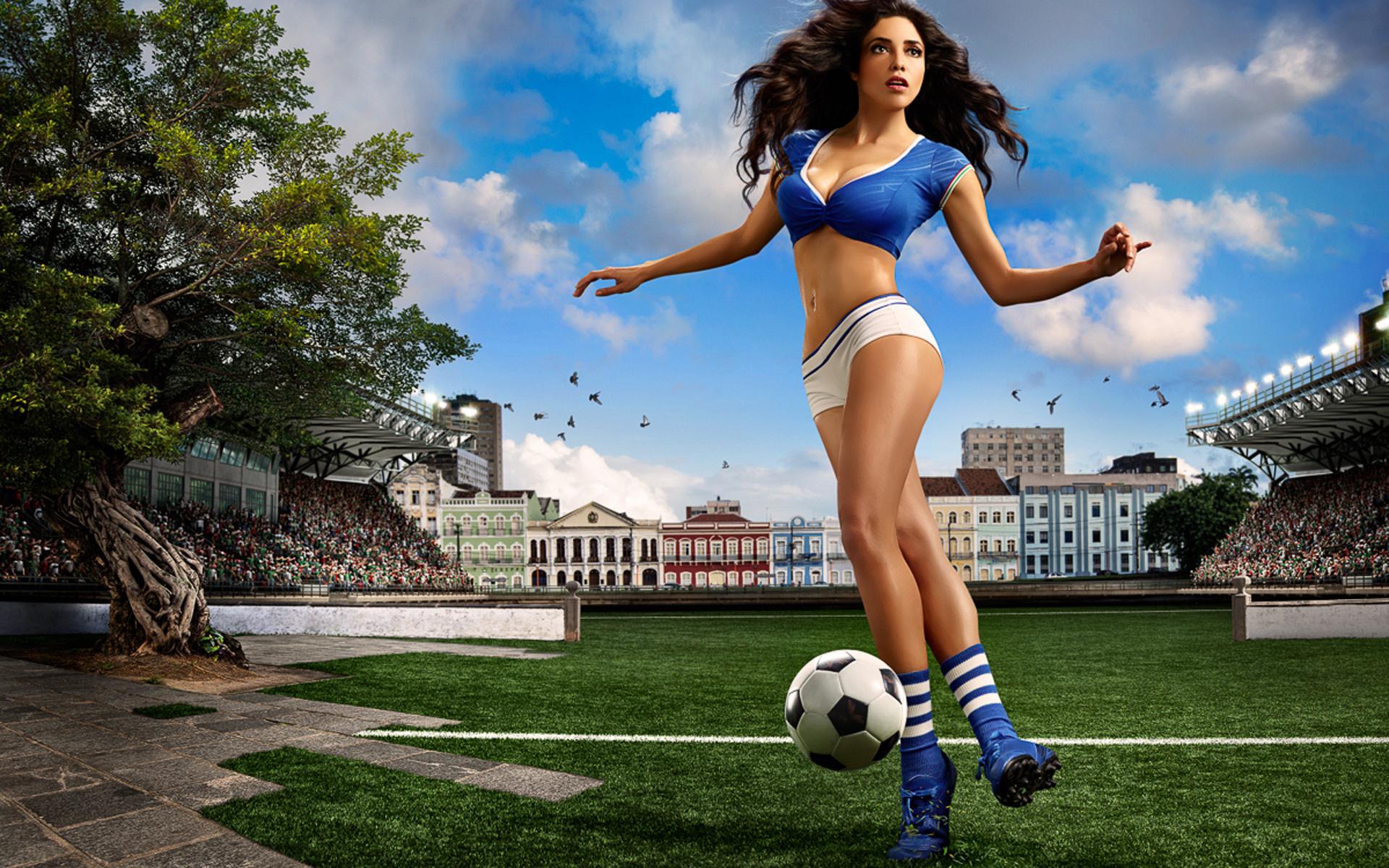 Картинки девушки в футболе