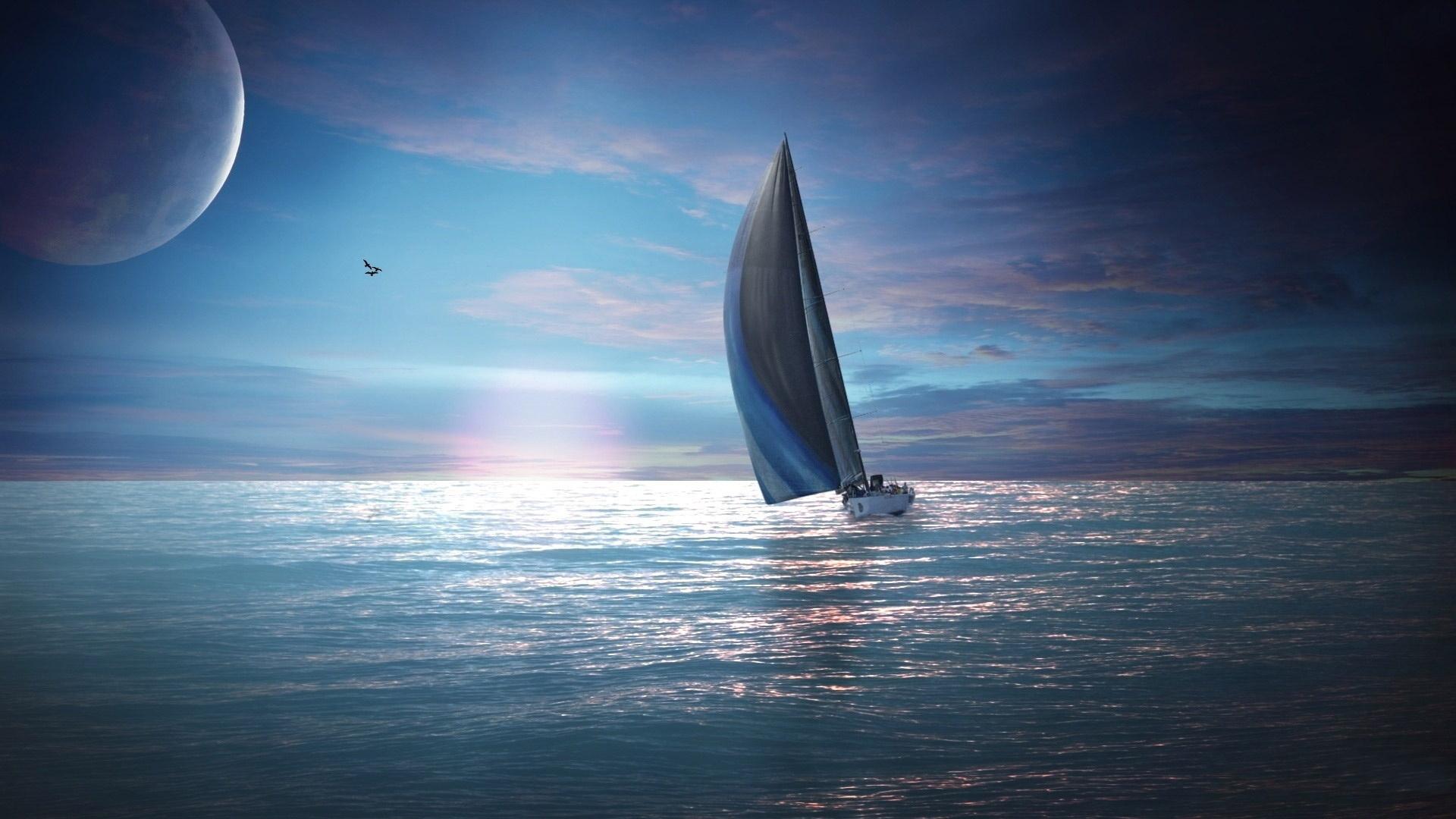 Картинка море парус