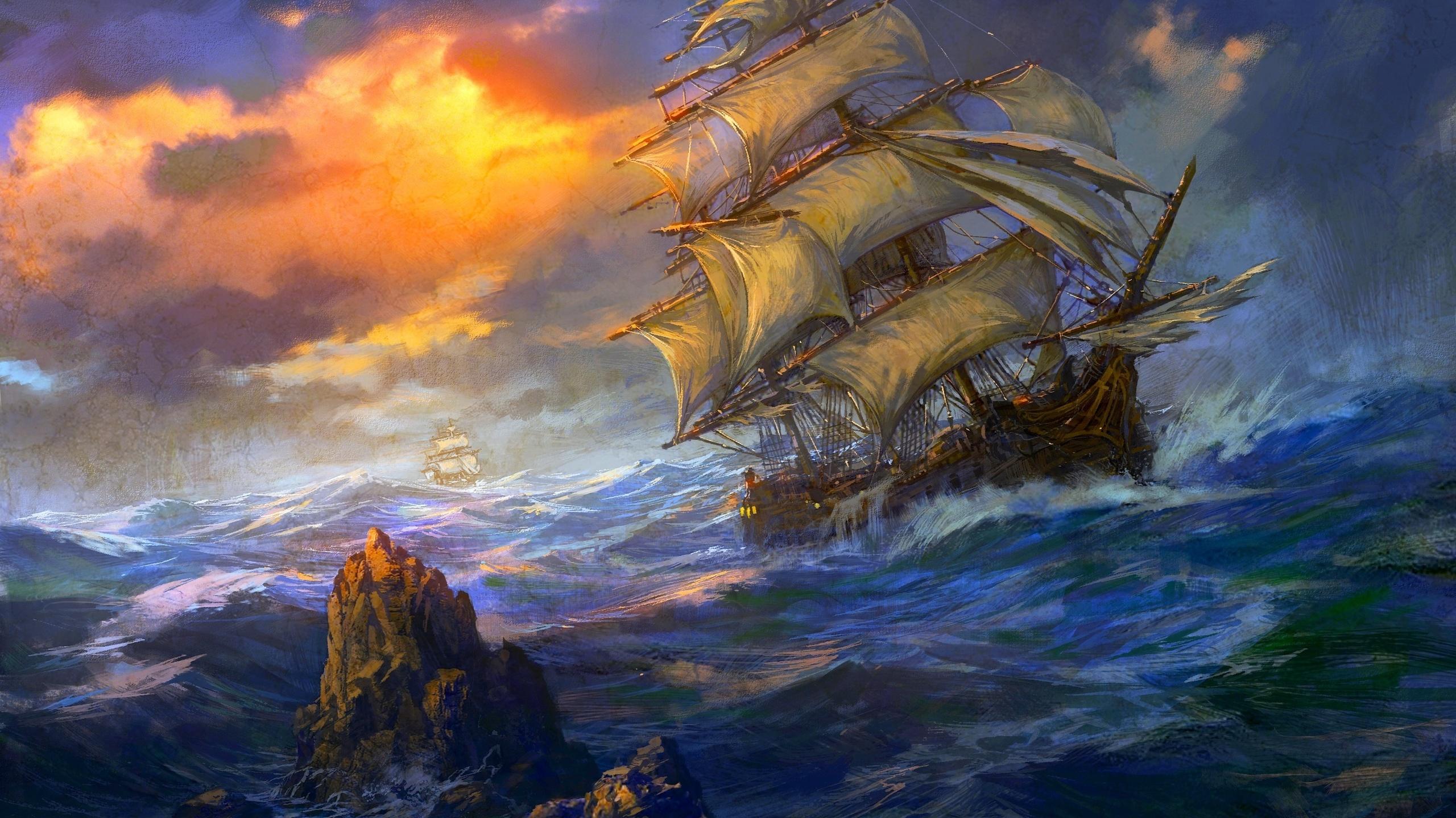 Картинки кораблей на море в шторм