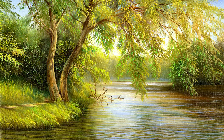 Картина с рекой и деревьями