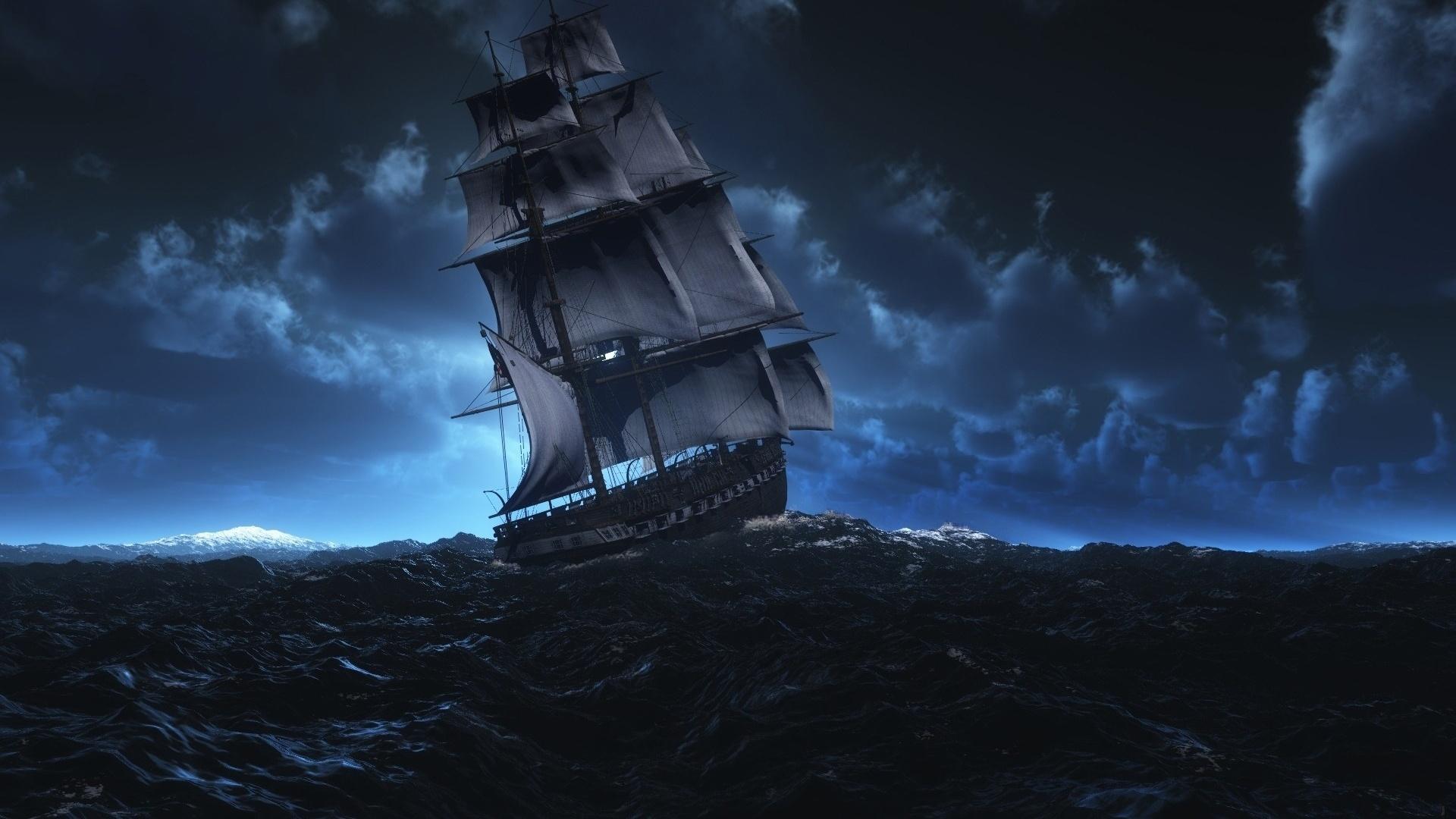 корабль в ночном море картинки поздравительную