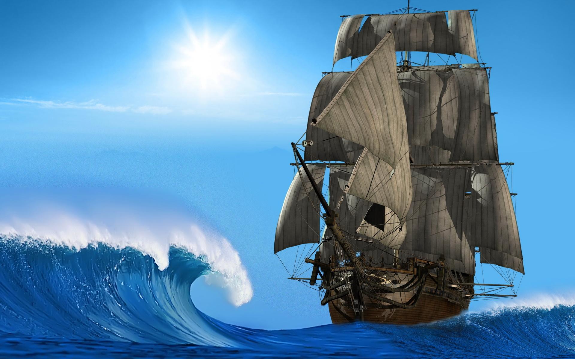 Для, парусные корабли на открытке