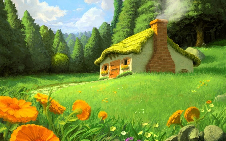 Картинка лесная опушка с домиком