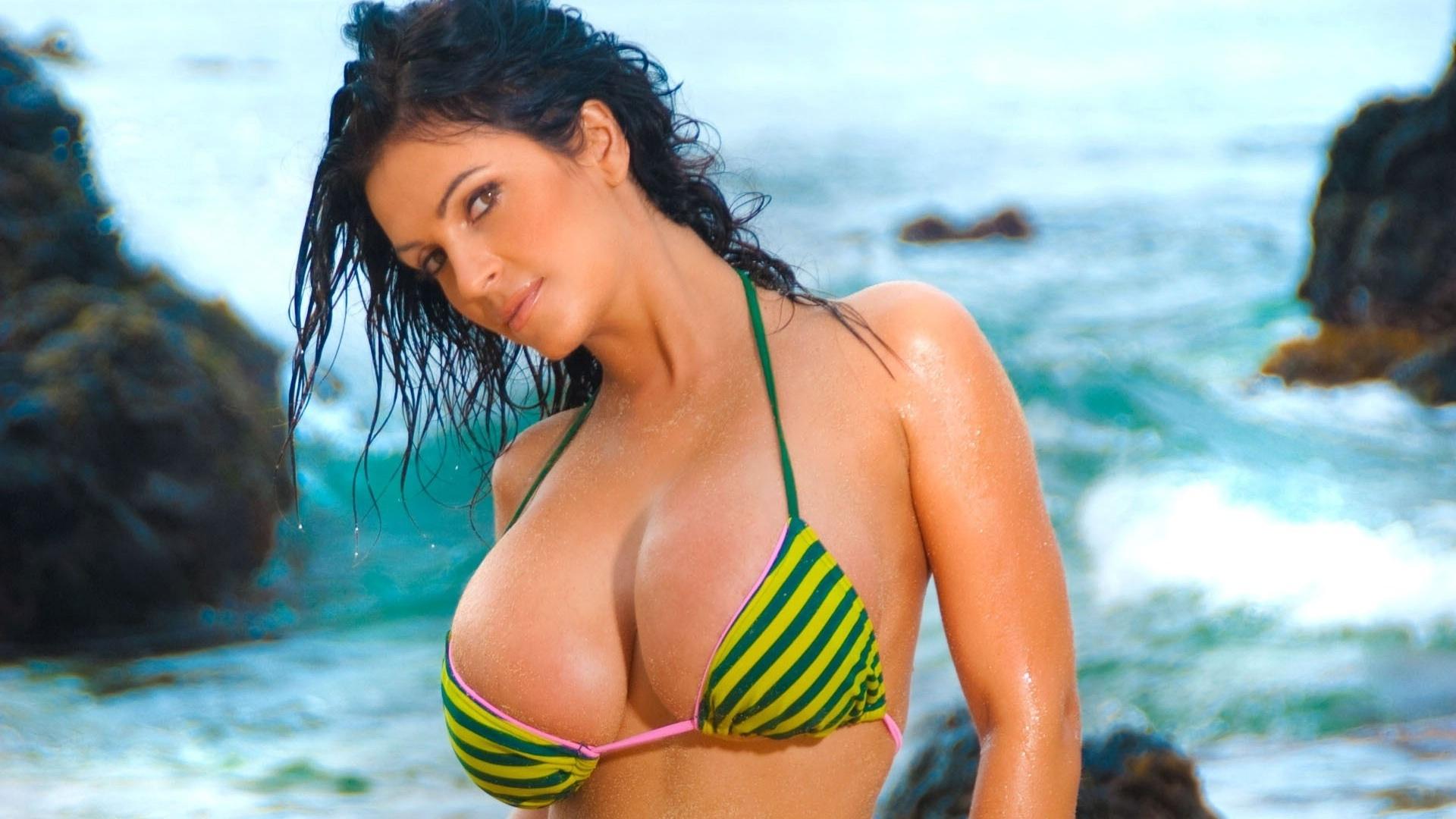 Sexy girl in a beautiful bikini with cool boobs