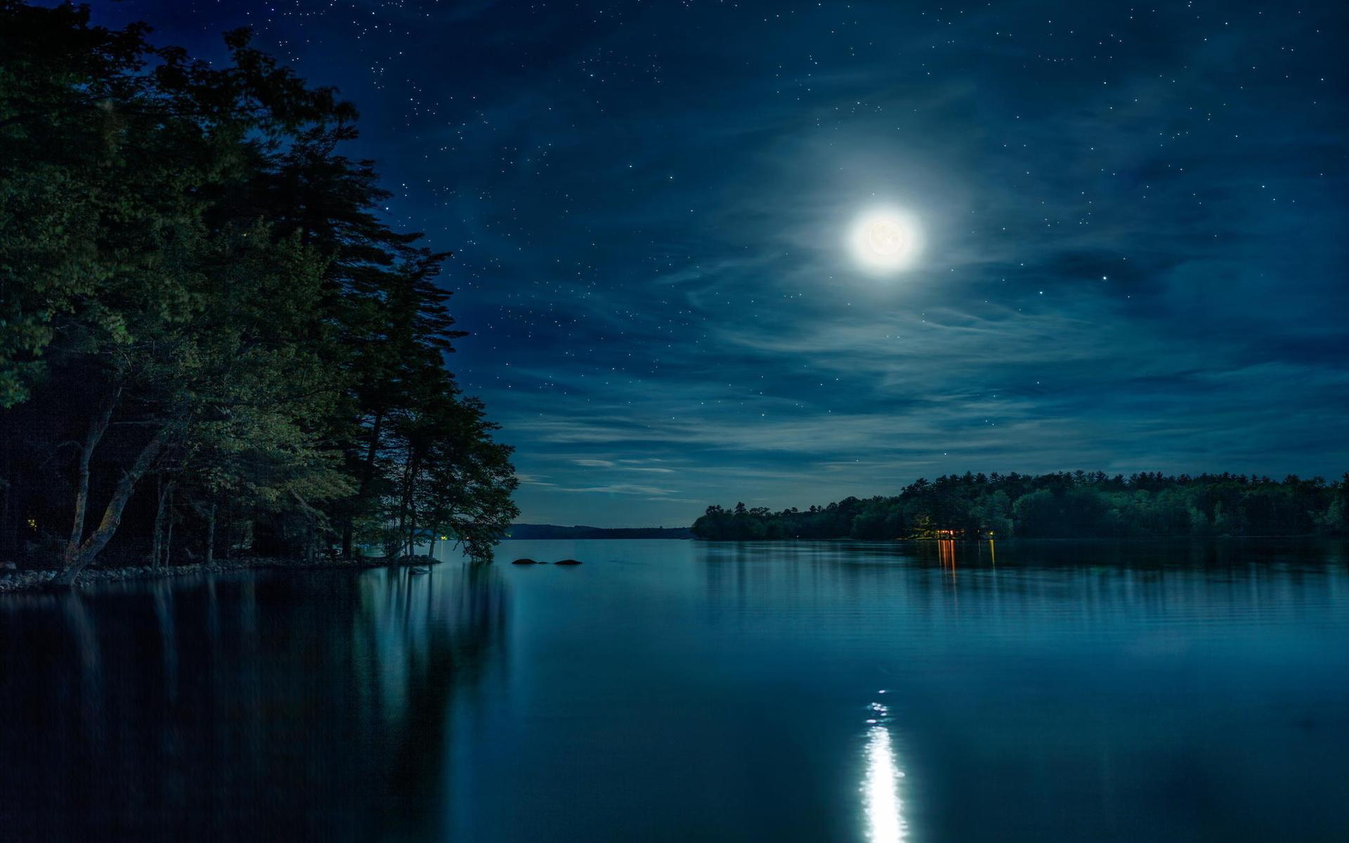 картинки лесное озеро ночью мне попала
