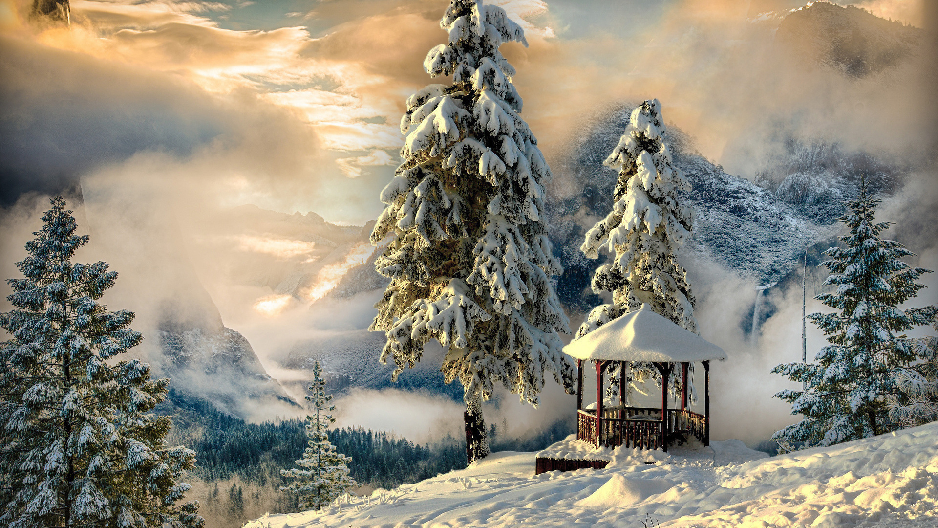 Лет, картинки новогодние пейзажи на телефон
