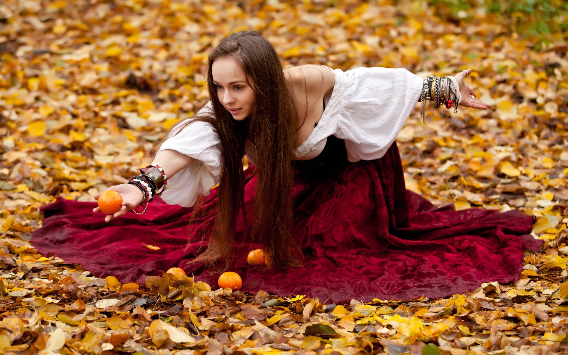 Картинки девушки осень до талии