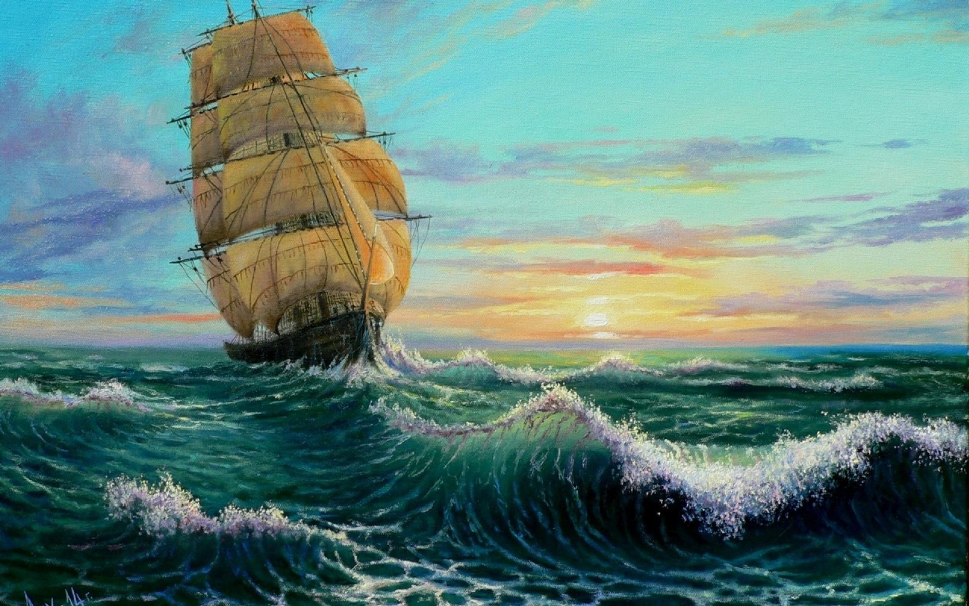 стоит картинки рисунок парусник море свойственно