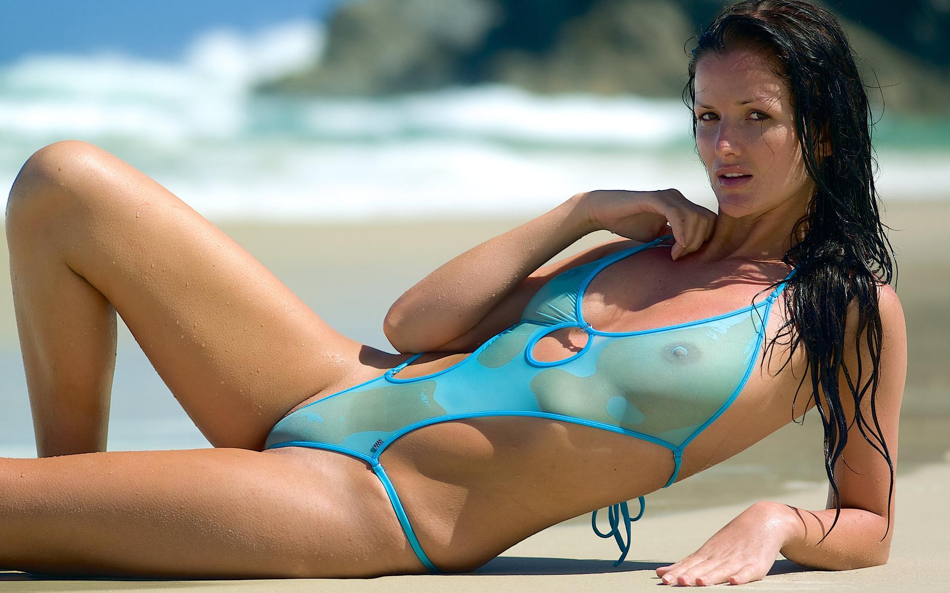 Naked girl in bikini