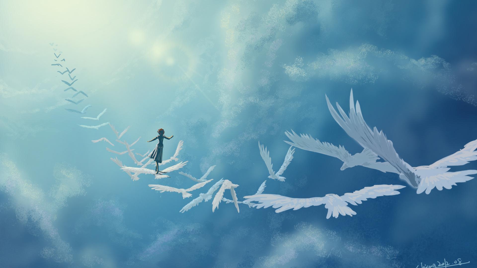Открытка, открытки птицы в небе