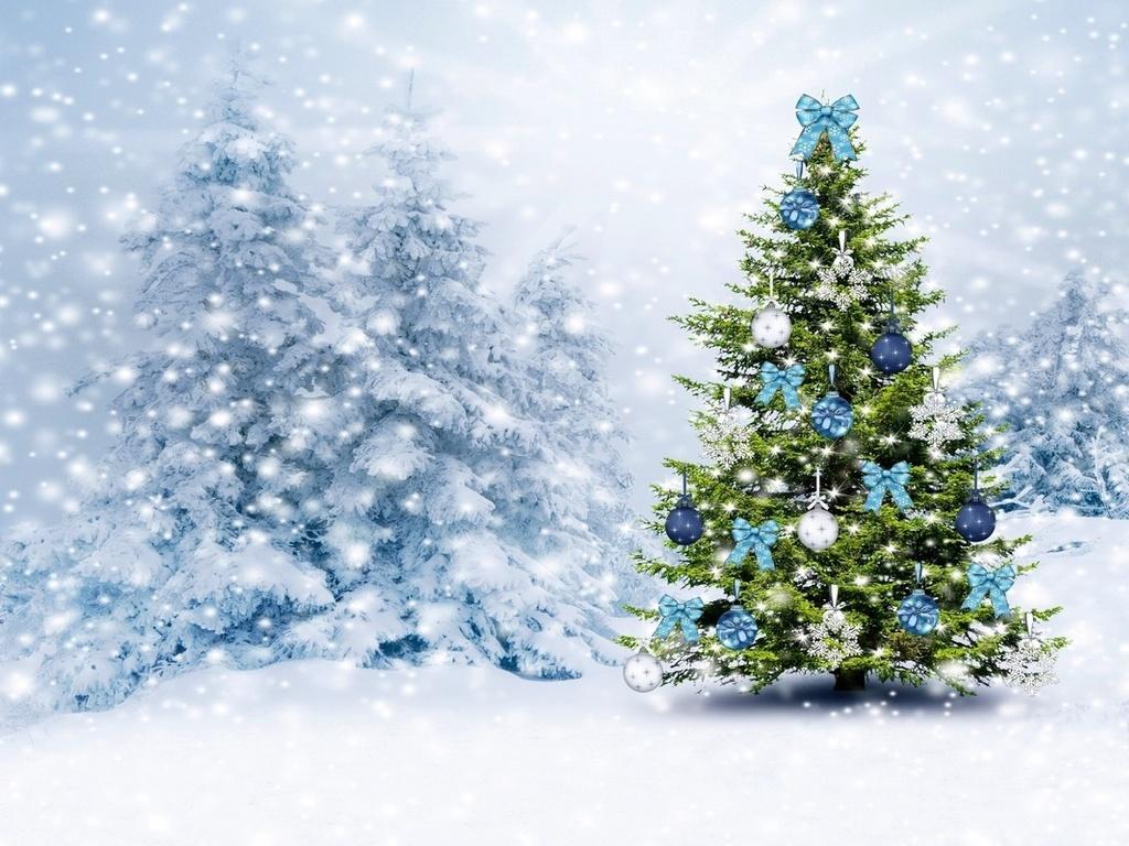 Открытки красивые новогодние елки