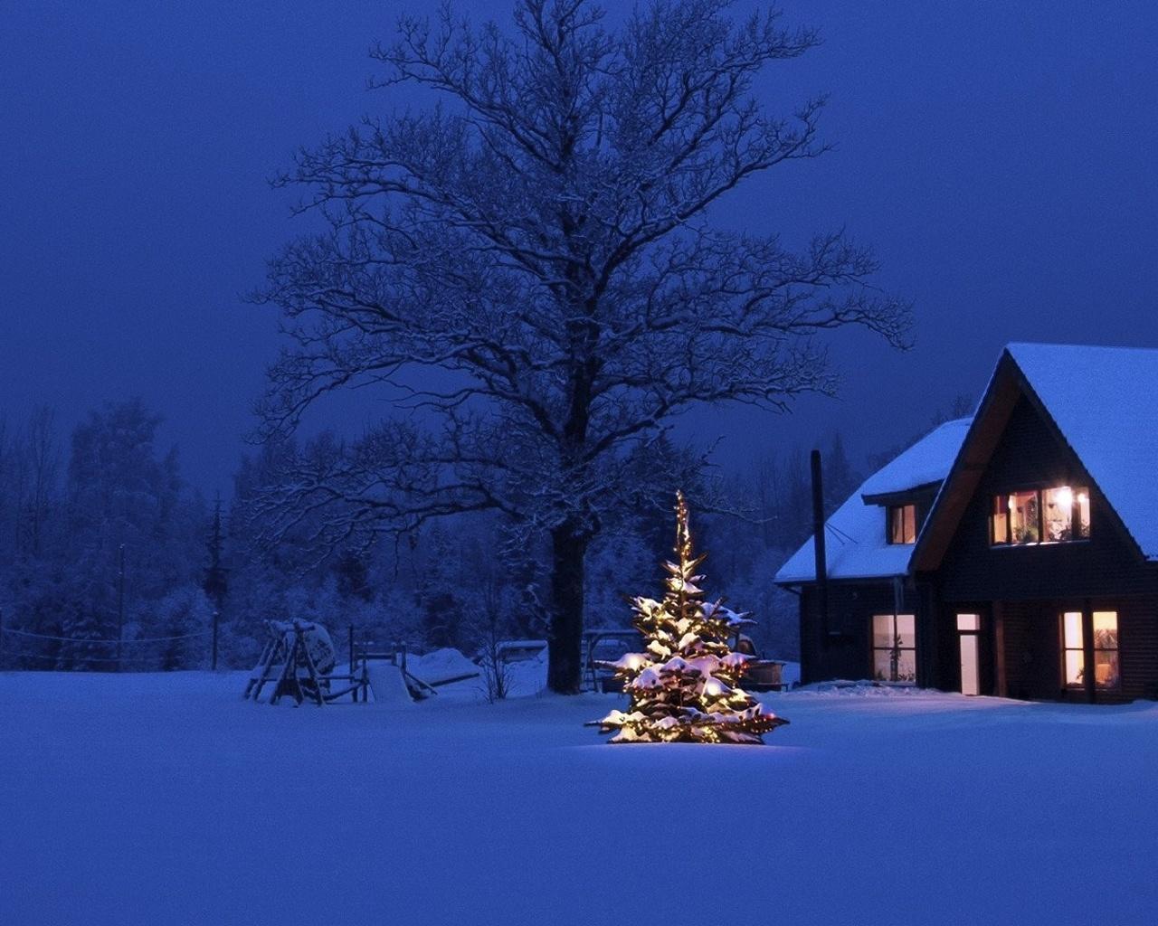 Зимние картинки с домиками и елками