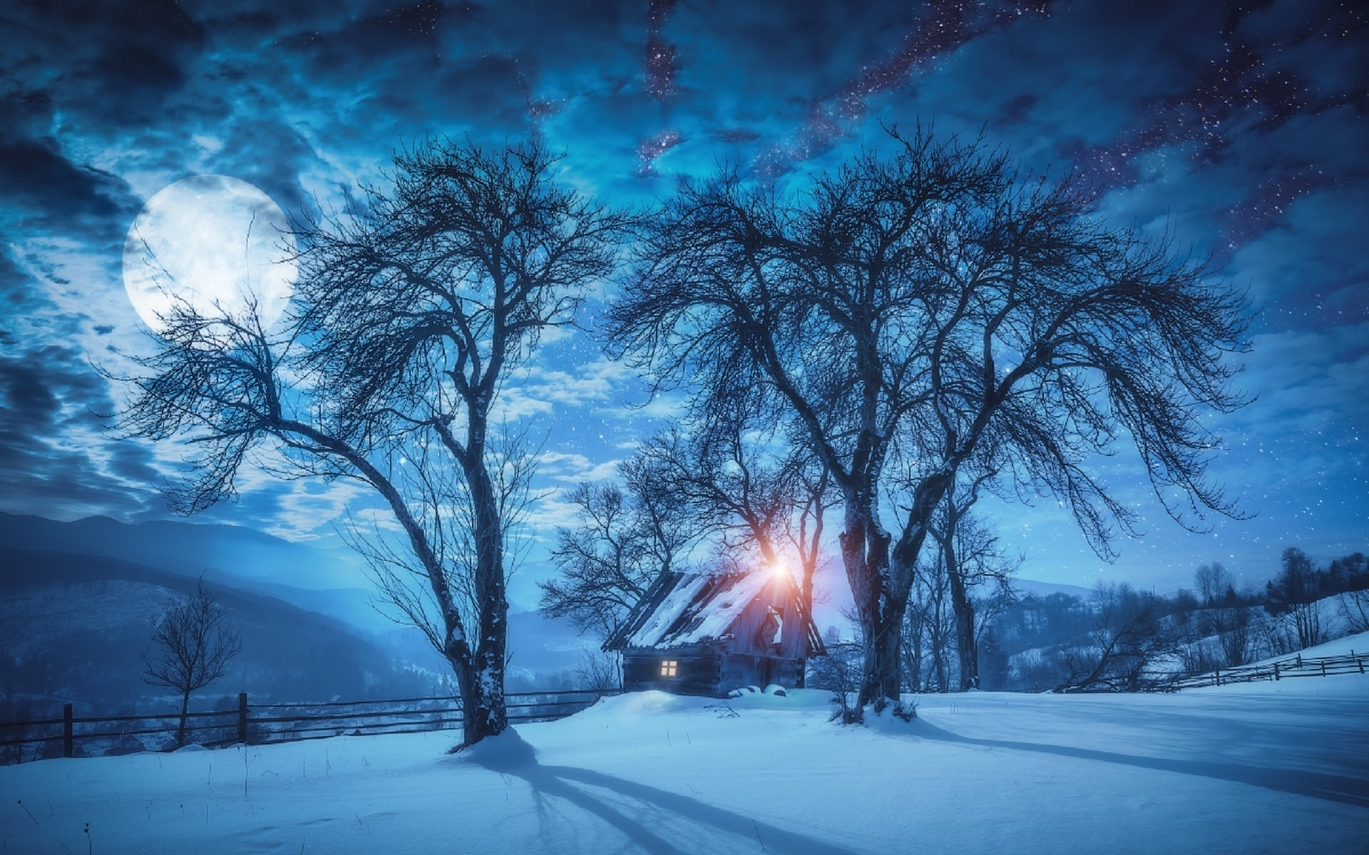 красивые картинки ночь зима снег были