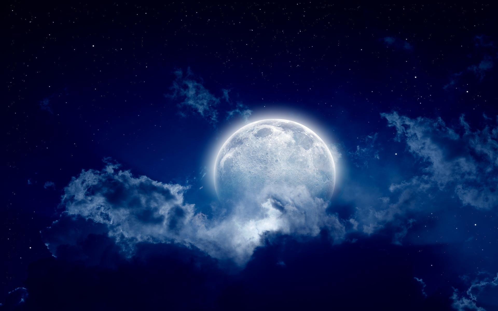 Цветные, картинка с луной