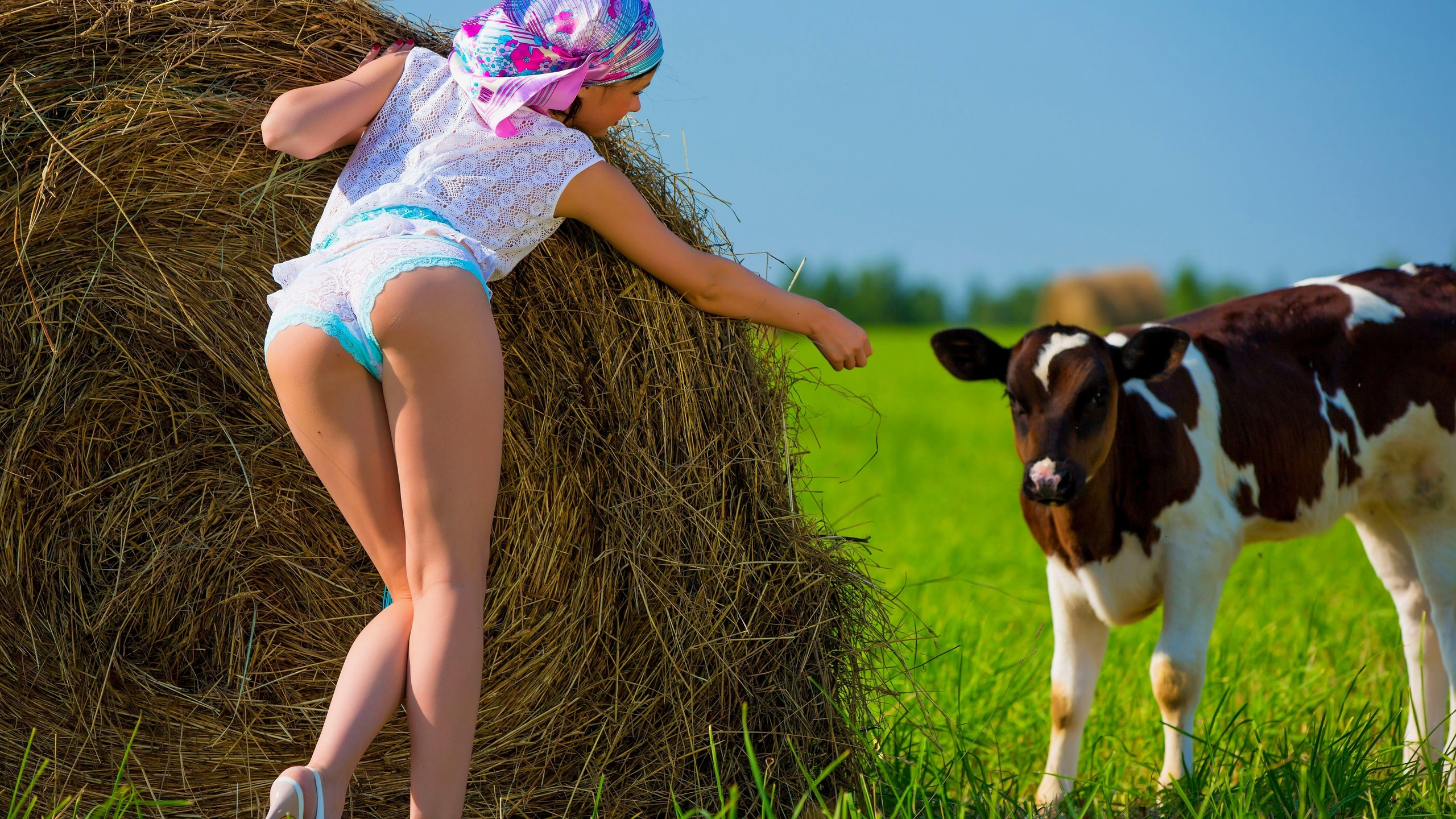 Erotic farm girl poses naked to show hot tits shaved pussy on a hay bale