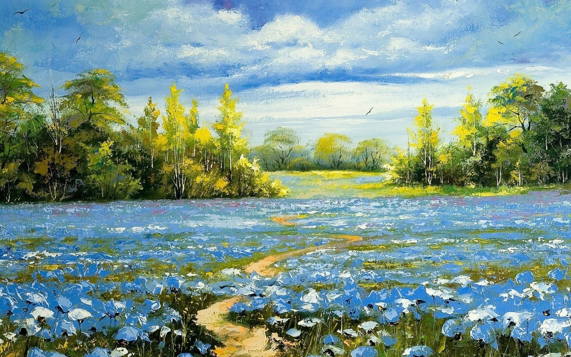 Пейзаж картинки с цветами миске