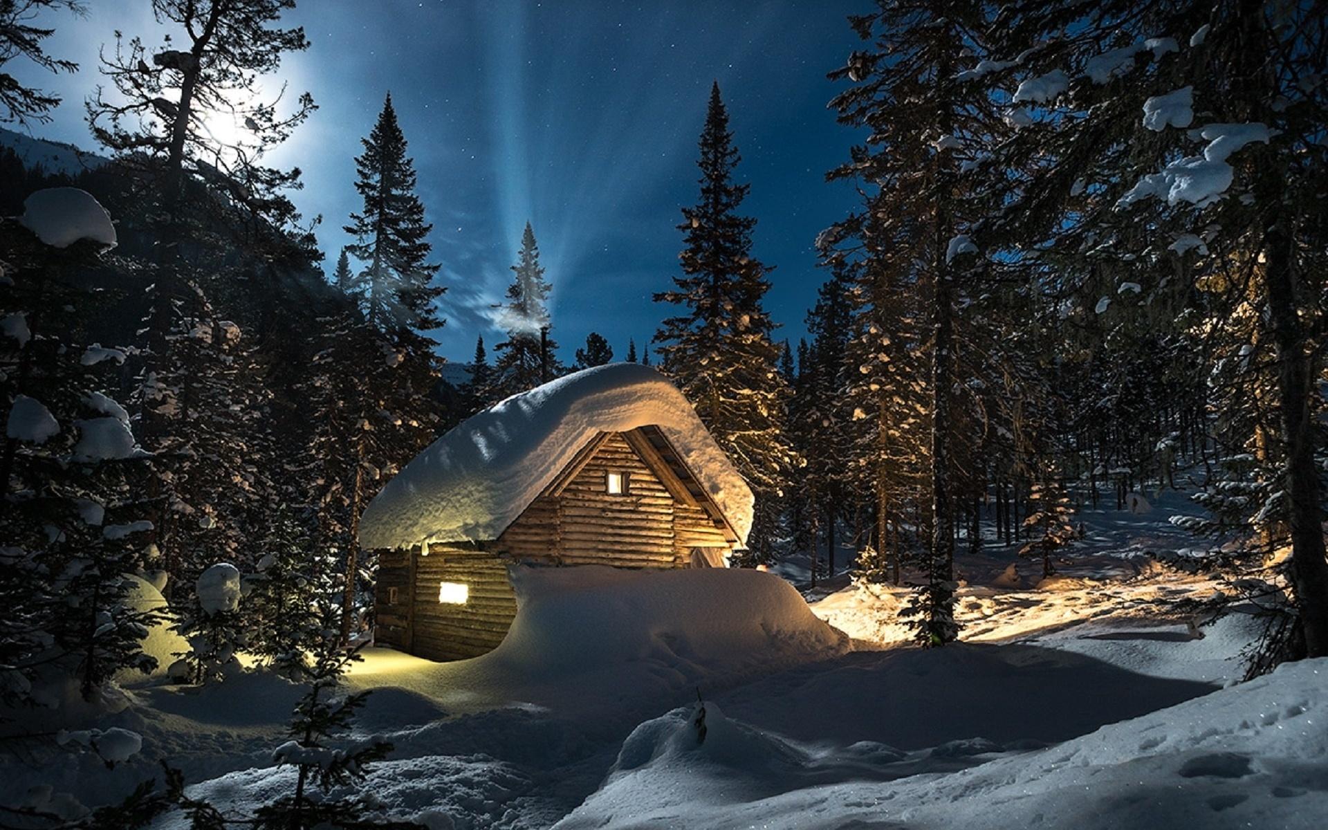 один избушка в лесу картинки зима немного