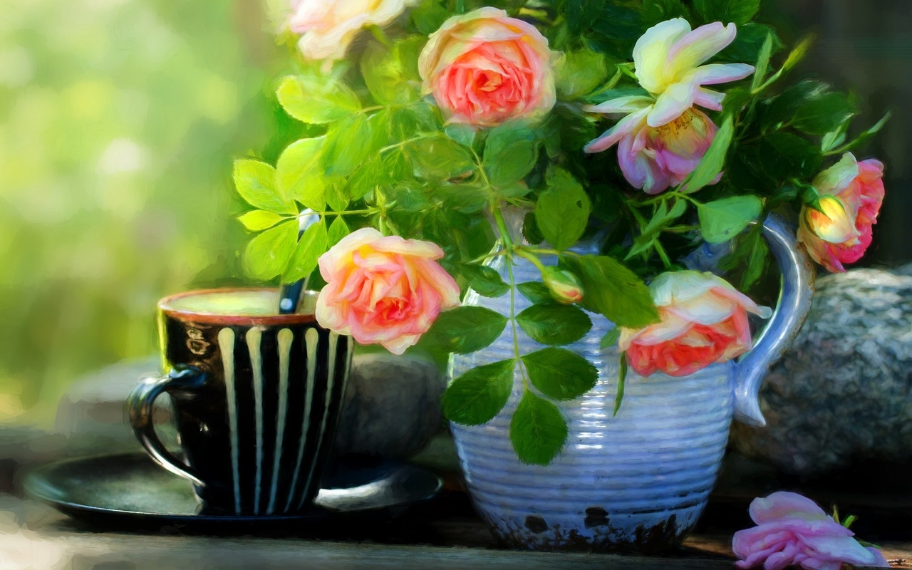 Днем, картинки чашка с цветами