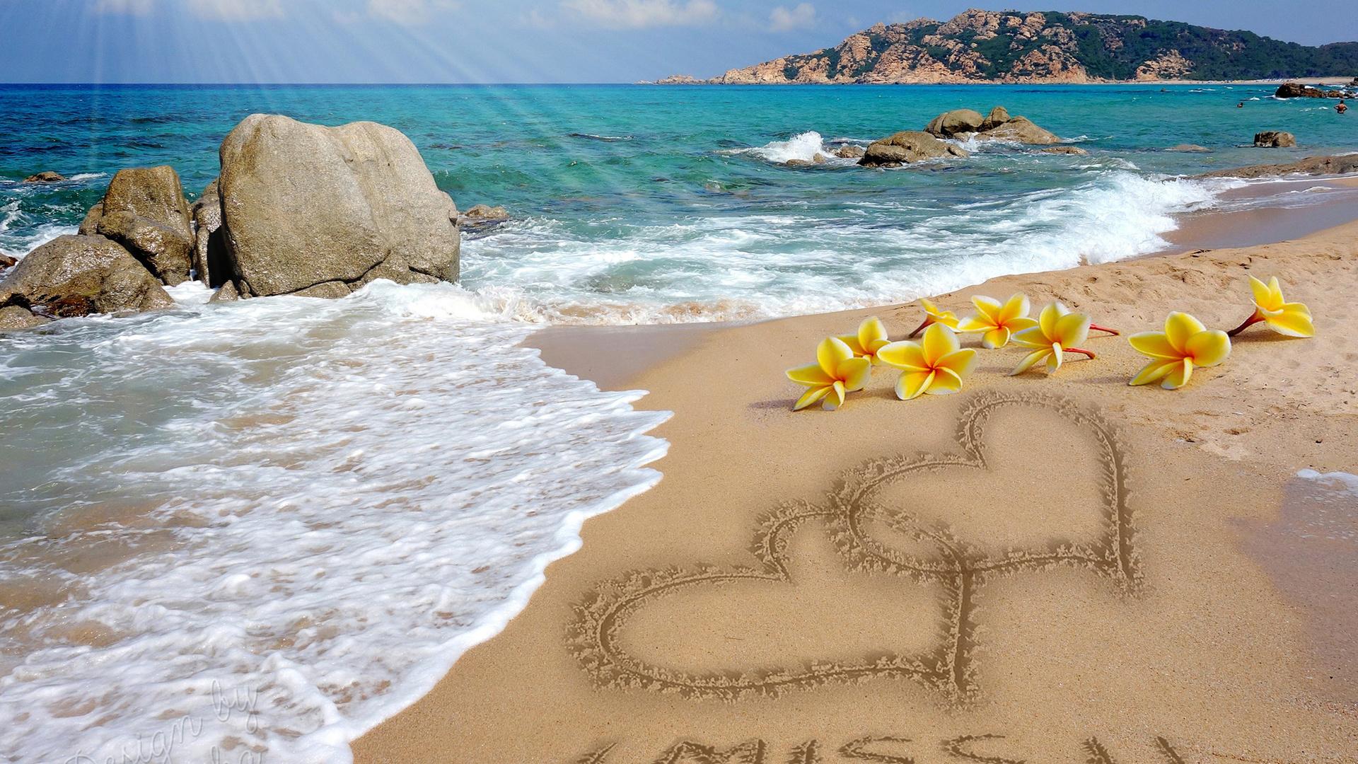 открытки цветы на берегу океана