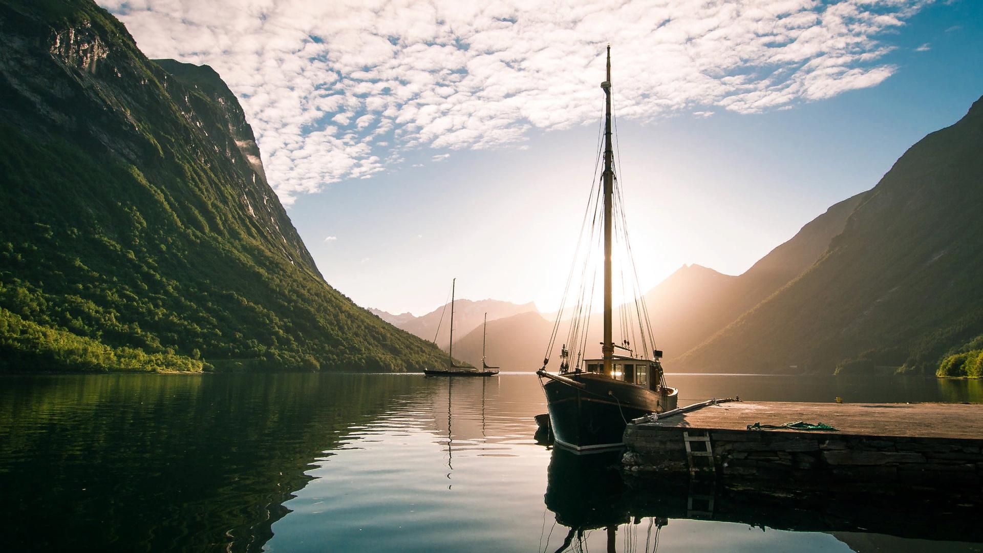 ваши изображения солнце в горах озеро яхты картинки всей