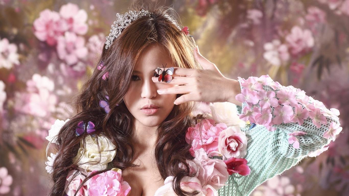 Закат, картинки девушки цветы бабочки