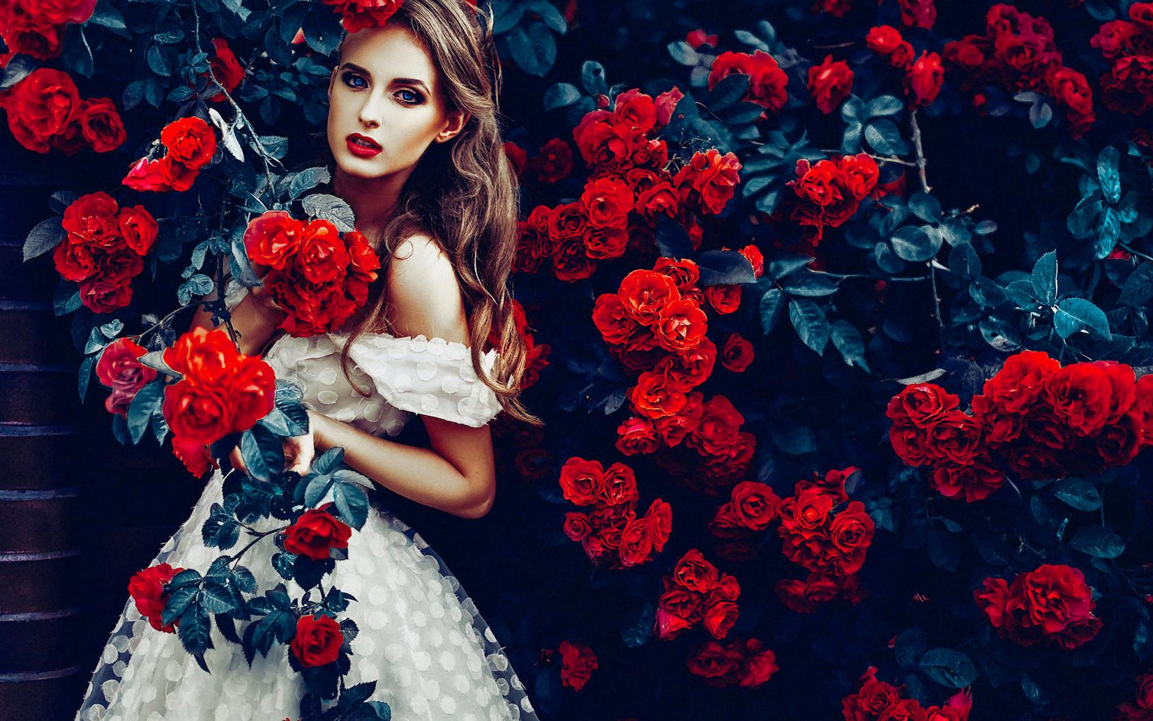 Картинки красивые девушки с цветами, педагогам