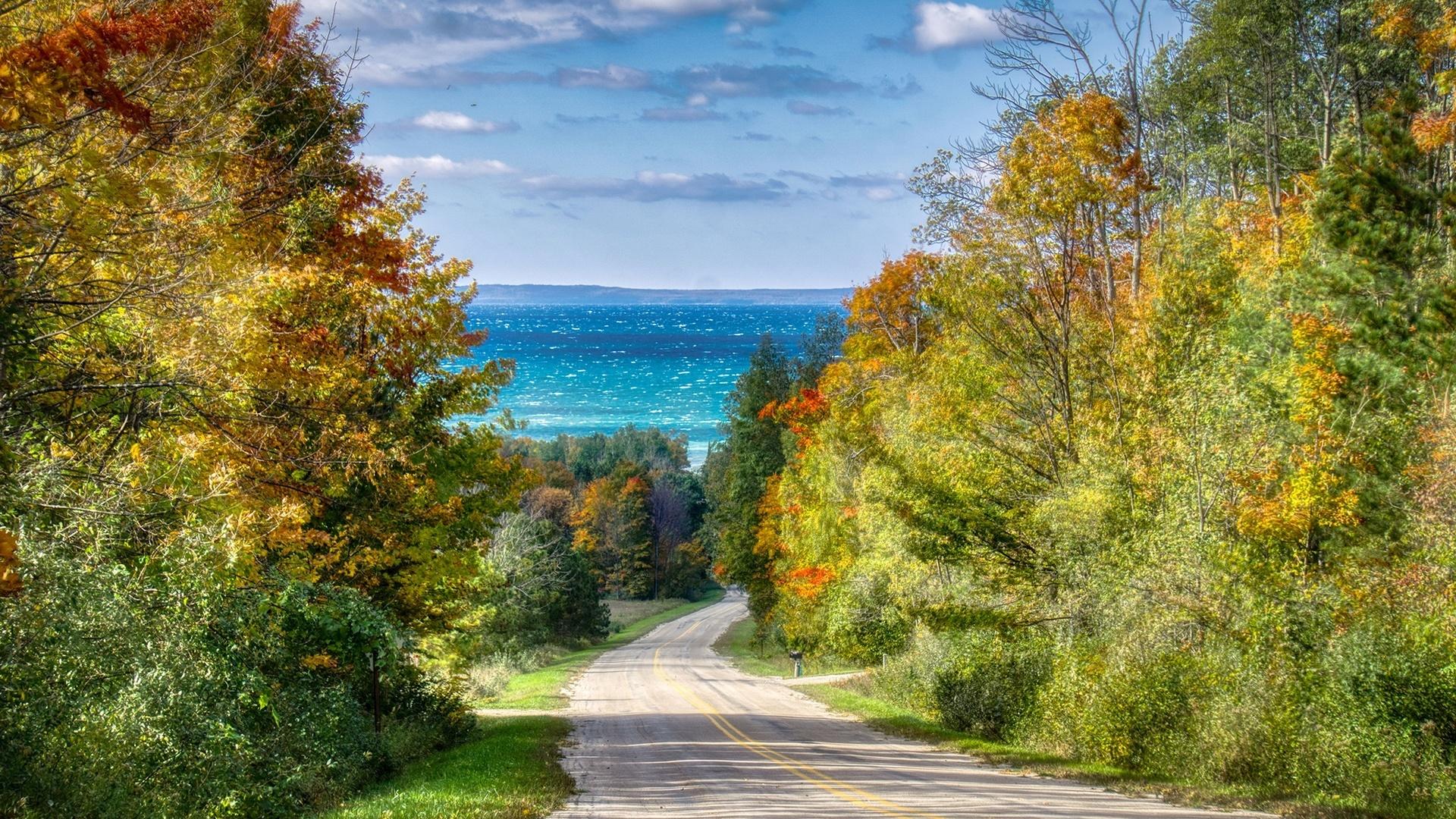 открытки осень и море