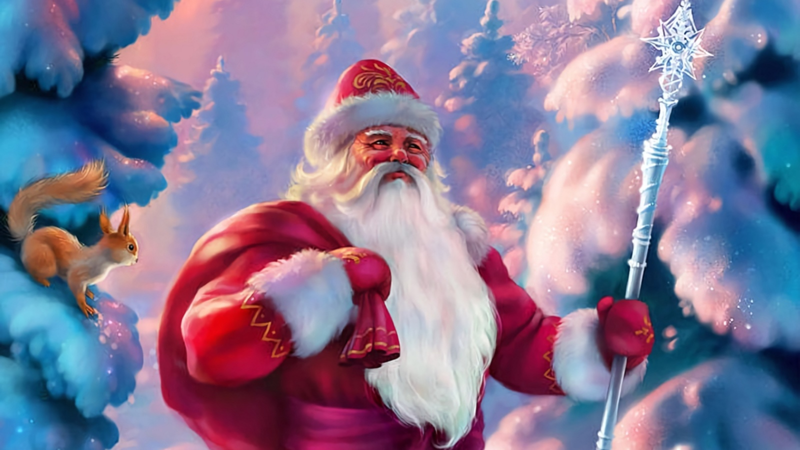 новогодние картинки с русским дедом морозом счастье, красивые анимационные