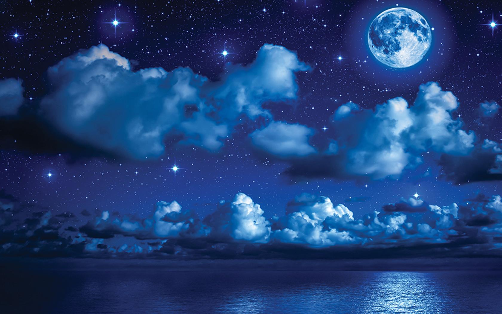Ночное небо с луной и звездами картинка