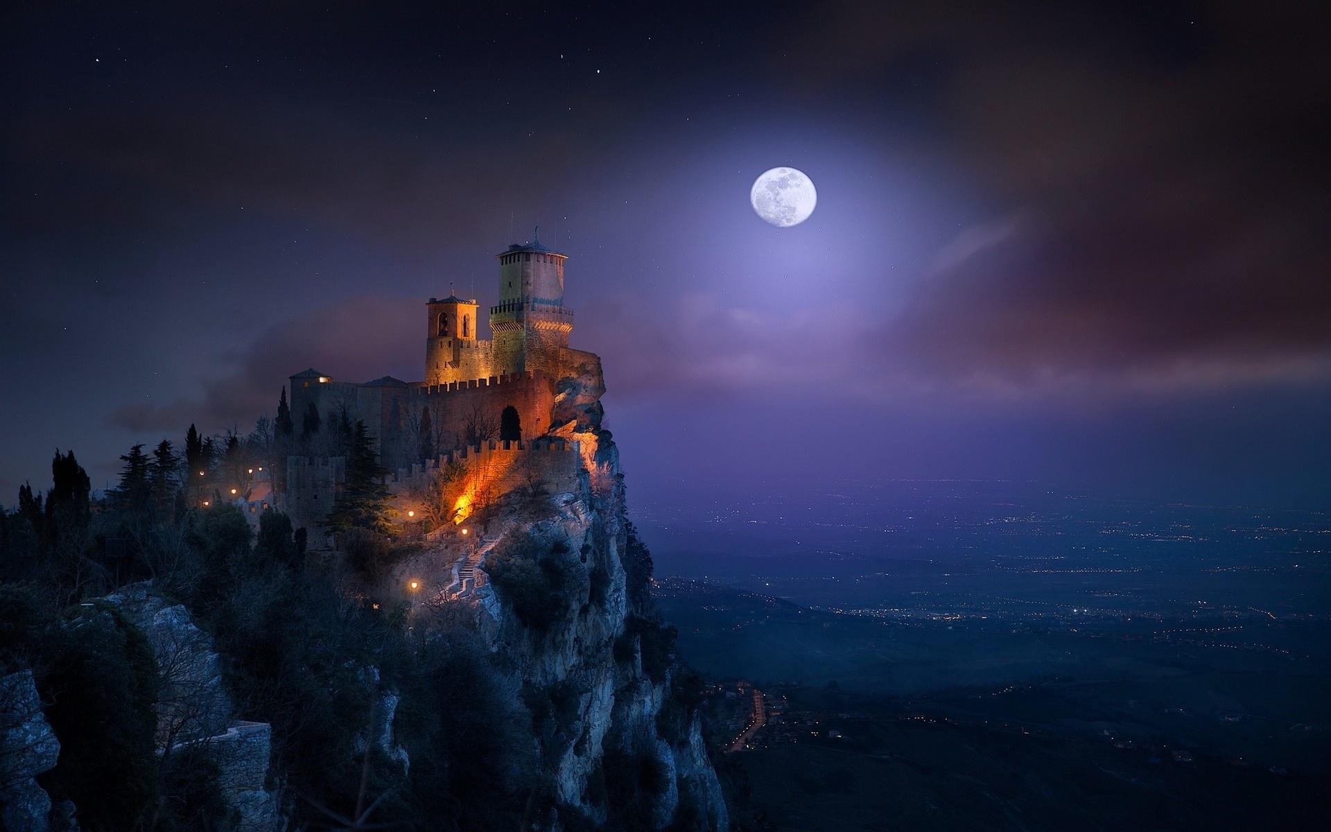 картинки фэнтези ночь луна замок что имеем