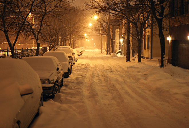 ночь, winter, new york, ny, snow, Albany, usa, нью-йорк, night, снег, олбани