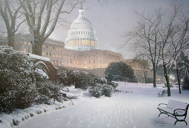 rod chase, united states capitol, painting, Evening on the hill, meeting place, hill, evening, park