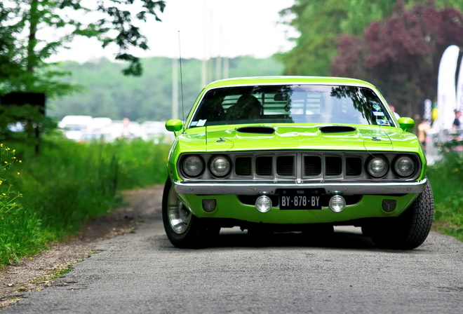 green, plymouth, barracuda, плимут, muscle car, 1971