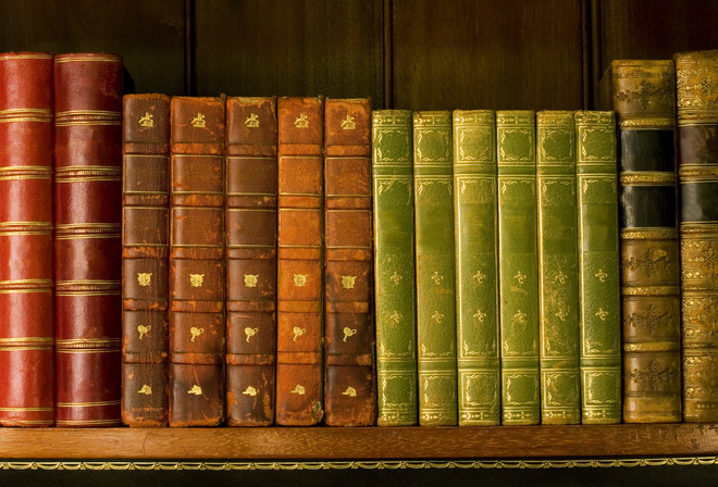 библиотека, Книги, корешки, полка