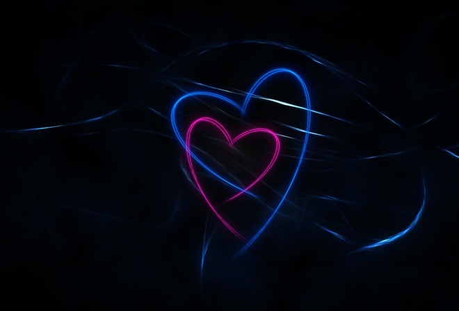 dark, Black, hearts, lines, pink, background, blue, abstraction