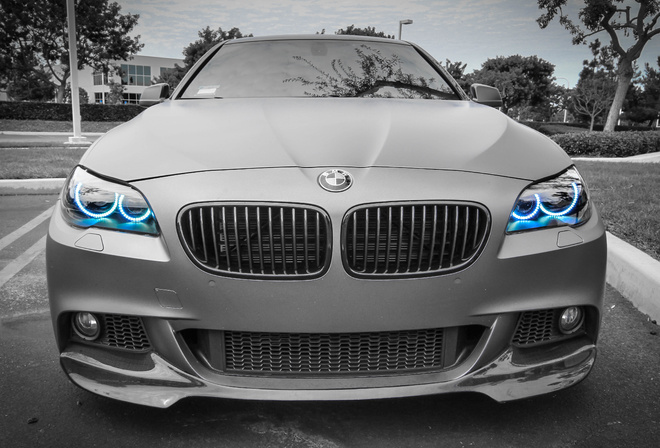 m1, bmw, gray, blue, angel eyes, headlight