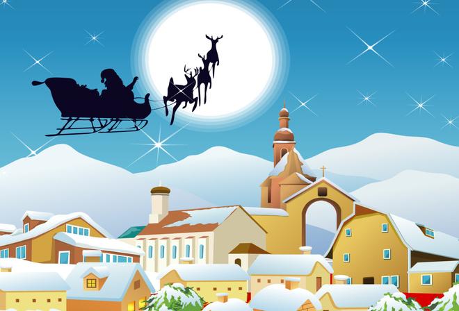 Обои олени, новый год, город, дед мороз, луна, рождество ...