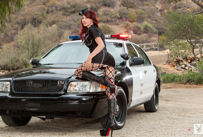 Elle Alexandra, red-haired, ass, panties, boots, mesh, police cap, police car, Ford