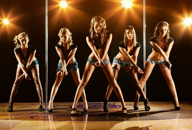 Cute girls, dance, young, posing, modern, sexy, active, company, disco, silhouette, group, happiness, девушки, группа